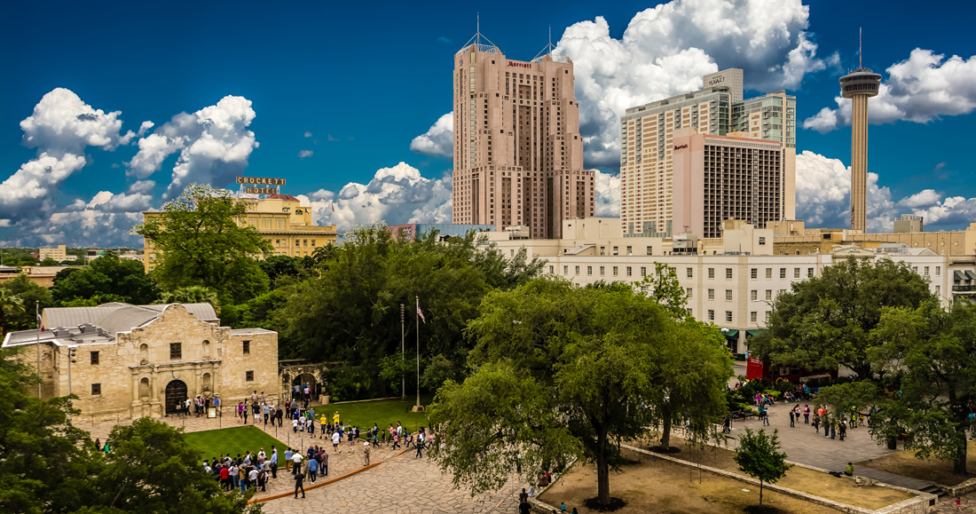 Skyline composite view of the Alamo in San Antonio, Texas